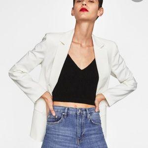 NWT Zara Woman Cotton Blend Double Breasted Blazer